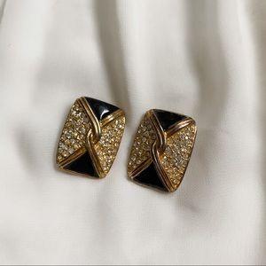 VTG Rectangle Gold Black CZ Diamond Clip Earrings